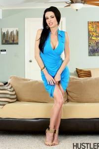 Belle Noir Posing In Blue Sexy Dress 15