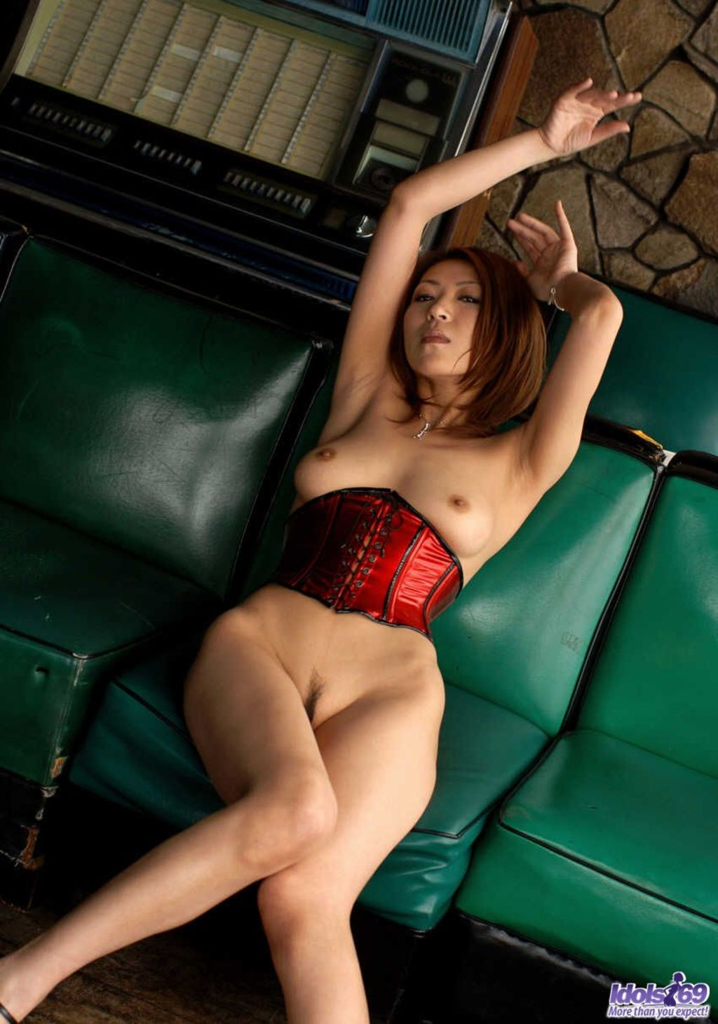 Lovely Asian Model In Red Lingerie 00