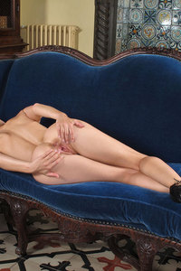 Cayenne Klein Horny Blonde On A Blue Couch 11