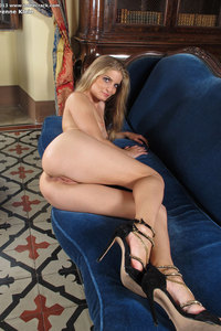 Cayenne Klein Horny Blonde On A Blue Couch 12