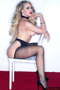 Kagney Lynn Karter In Stockings Flashes Her Pussy 00