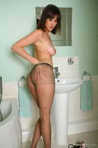 Sexy Brunette Wearing Brown Pantyhose 10