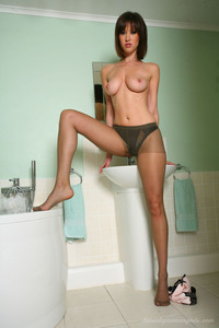Sexy Brunette Wearing Brown Pantyhose 11