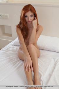 Cute Redhead Teen Michelle H Shines In White Corset 08