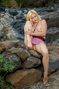 Sexy Blonde Janelle Spreading On The Rocks 10