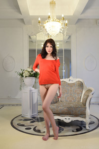 Skinny Brunette Lily Sands Strips Off Her Red Shirt 00