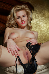 Round Assed Blonde Teen Zarina In Sexy Tan Stockings 10