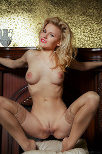Round Assed Blonde Teen Zarina In Sexy Tan Stockings 15