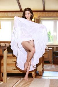 Slim Brunette Amelie Naked On The Counter 03