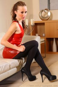 Sophia Smith Tight Red Latex Dress 06