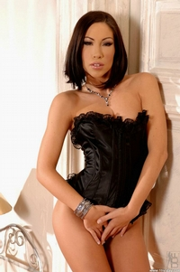 Hot Brunette In Black Corset 01