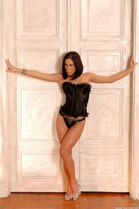 Hot Brunette In Black Corset 02