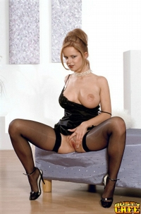 Busty Babe In Black Stockings 02