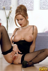 Busty Babe In Black Stockings 04