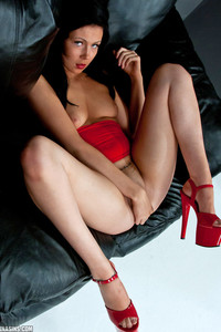 Sabrina Sins Red Dress And Heels 02