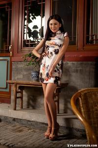 Sexy Asian Playmate Wu Muxi Posing In Silk Kimono 03