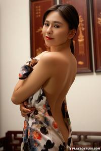 Sexy Asian Playmate Wu Muxi Posing In Silk Kimono 05