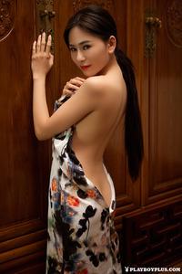 Sexy Asian Playmate Wu Muxi Posing In Silk Kimono 06