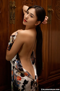 Sexy Asian Playmate Wu Muxi Posing In Silk Kimono 07