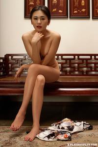 Sexy Asian Playmate Wu Muxi Posing In Silk Kimono 10