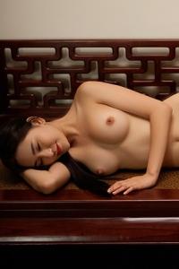 Sexy Asian Playmate Wu Muxi Posing In Silk Kimono 15