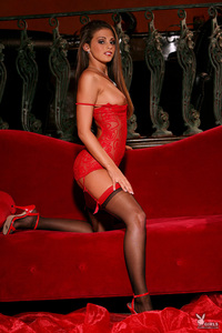 Lacey Alexandra Hot In Red Lingerie 01