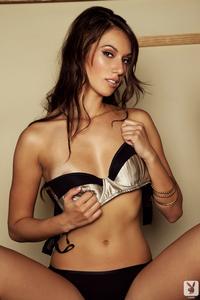 Slender Brunette Cybergirl Sophia Beretta Strips Nude 01