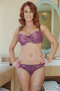 Busty Redhead MILF Sabrina Cyns Strips In The Bathroom 03