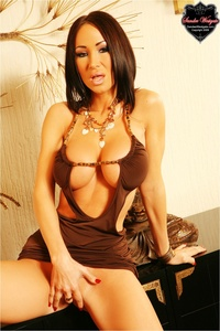 Sandee Westgate In A Sexy Brown Dress 05