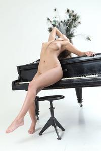 Brunette Angel Maria Rya On The Piano 07