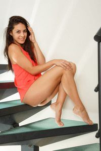 Carolina Abril Masturbating On The Stairs 00