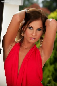 Lauryn May Takes Off Her Red Mini Dress 00