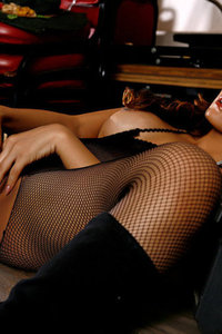 Erena Pine In Black Fishnet Bodystocking And Boots 13