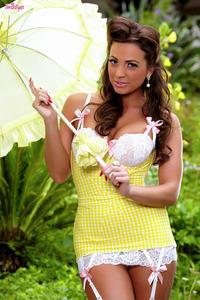 Abigail Mac Peels Off Her Yellow Dress 00