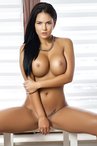 Gorgeous Brunette Glamour Babe Kendra Strips