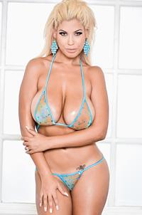 Busty Bridgette Strips Off Her Sexy Blue Bikini