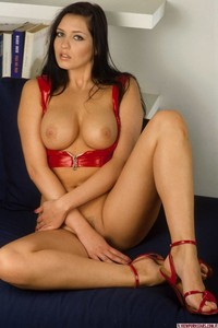 Nice Titted Brunette In Red  10