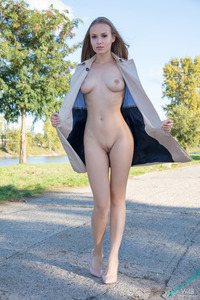 Beautiful Blonde Angel Spreads Pussy By The River 02