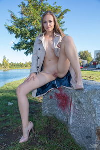 Beautiful Blonde Angel Spreads Pussy By The River 06