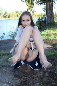 Beautiful Blonde Angel Spreads Pussy By The River 16